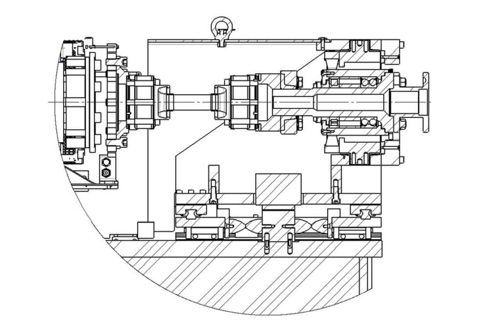 Sectional view of the cardan bearing